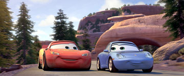 Lightning McQueen and Sally (voiced by Bonnie Hunt)