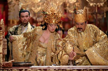 Gong Li as the Empress and Chow Yun-fat as the Emperor